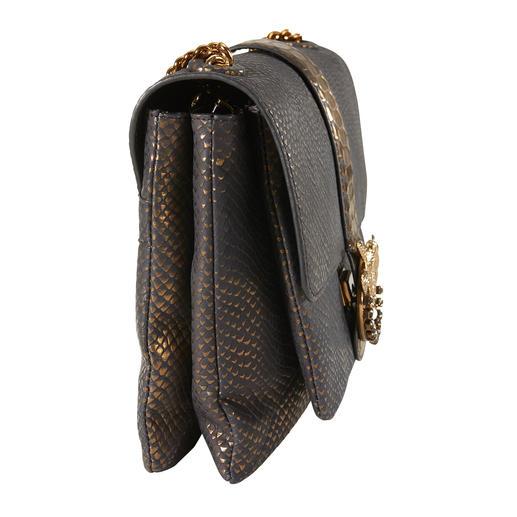 Pinko Metallic-Tasche Erschwingliches Highfashion-Design von italienischer Eleganz: die blaue Python-Metallic-Bag mit angesagter Gliederkette. Von Pinko.