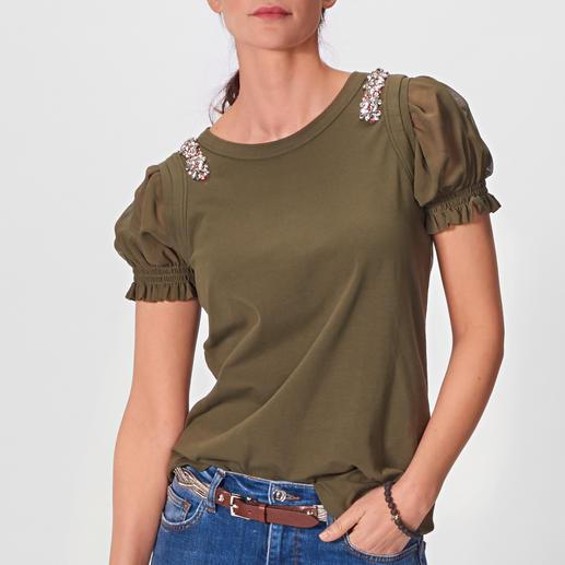 Liu Jo Schmuck-Shirt Immer etwas ausgefallener als andere: das geschmückte Basic-Shirt von Liu Jo.