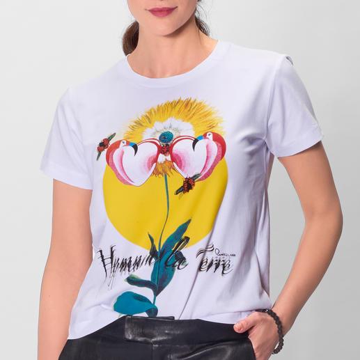 cavalli CLASS Flamingo-Shirt Must-have Print-Shirt: bei cavalli CLASS mit allen modisch wichtigen Motiven – und natürlich Gelb.