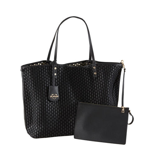 1 Tasche – 4 Looks – und für eine Designer-Tasche ein sehr vernünftiger Preis: der Wende-Shopper von Love Moschino.