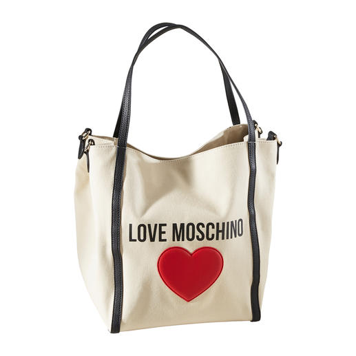 Love Moschino Jute-Shopper-Bag 2-fach-Trend mit 2 Tragevarianten: die Jute-Shopper-Bag vom In-Label Love Moschino.