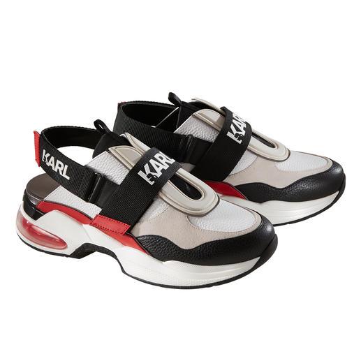 Der Ugly-Sneaker à la Karl Lagerfeld: ungewöhnlicher und stylisher als viele andere – in sommerlicher Sling-Form. Der Ugly-Sneaker à la Karl Lagerfeld: ungewöhnlicher und stylisher als viele andere – in sommerlicher Sling-Form.