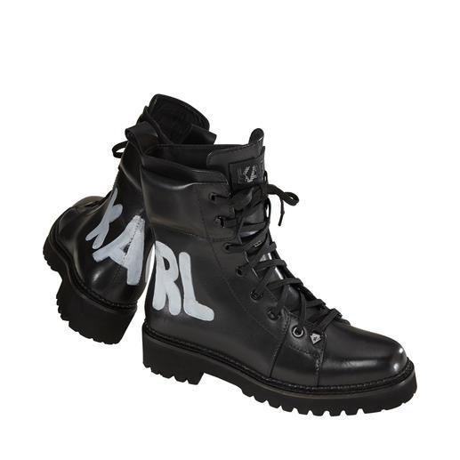 Karl Lagerfeld Hiker-Boots Derbe Boots & Wording. Topmodisch und legendär vereint in diesen handbemalten Hiker-Boots von Karl Lagerfeld.