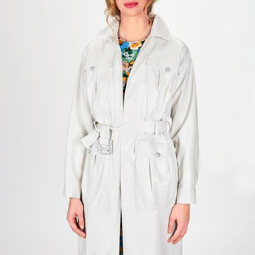 """Pinko White Trenchcoat Similpelle Pinkos """"Washed Similpelle"""" macht aus dem empfindlichen weißen Leder-Trench ein tragbares Trend-Piece."""