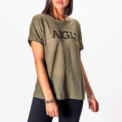 Aigle Logo-Mesh-T-Shirt 3 Fashion-Facts in einem Basic-Shirt: Lässiger Boxy-Cut. Luftiges Baumwoll-Mesh-Gewebe. Logo-Print.