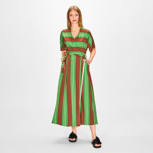 Smarteez Kimono-Maxikleid 5 Trends in einem Kleid: Streifen, Farbkombi Grün/Marone, Maxi- und Wickel-Kleider, Kimonoschnitte.