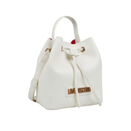 Love Moschino White Bucket-Bag Toptrend: Kleine weiße Bucket Bag. Die erschwingliche unter den Designer-Taschen kommt vom In-Label Love Moschino.