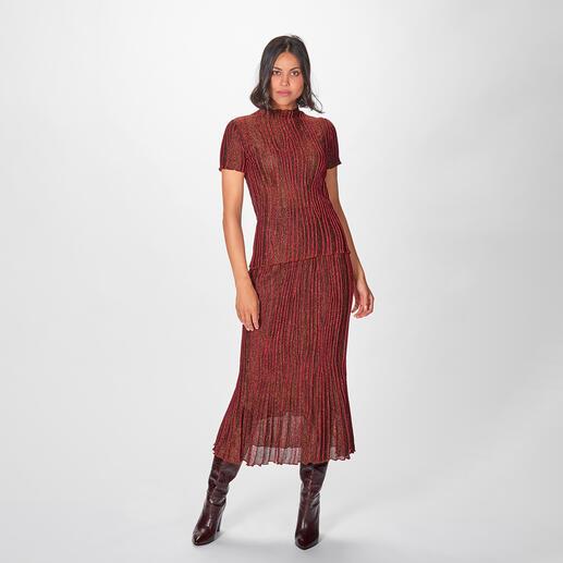 M Missoni Plissee-Strickrock oder -Kurzarm-Pulli Trend-Symbiose nach Meisterart: Lurex. Plissee. Braun/Bordeaux/Pink. Edle High-Fashion-Strickkombi vom Couture-Label M Missoni.