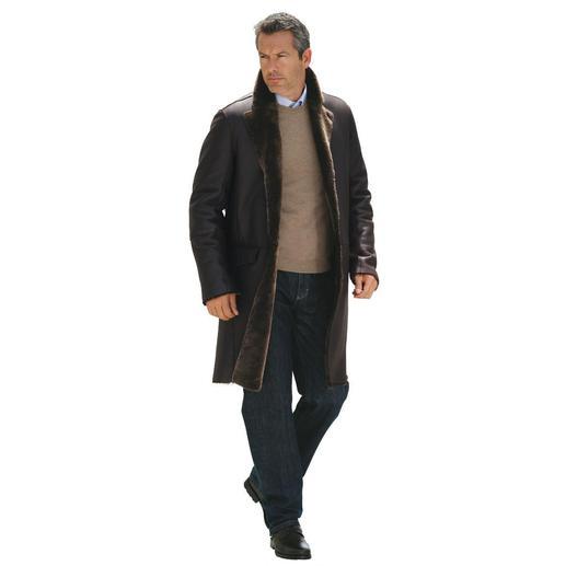 Lammfellmantel - Der 1.450 g Lammfell-Mantel wärmt besser als 2 kg schwere Leder-Jacken. Aus seidenweichem, spanischem Merino-Lammfell.