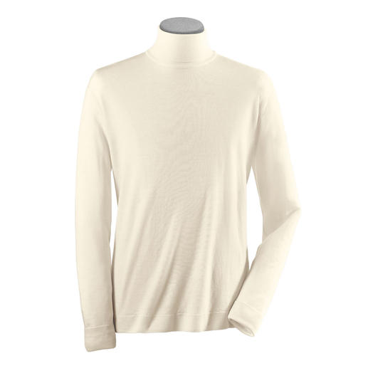 John Smedley Rollkragen-Pullover Der Pulli aus Merinowolle von John Smedley wiegt weniger als 300 Gramm. Passt in jede Aktentasche.