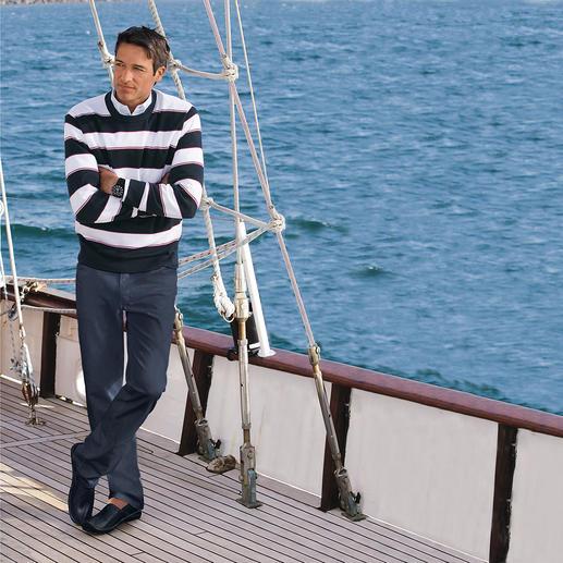 Pima-Pullover Maritime Block Stripes Leicht, luftig und streichelzart auf bloßer Haut: Der Pulli aus seltener Pima-Cotton.