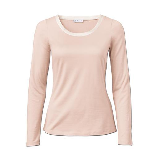 Seiden-Edelshirt Überlebt Generationen billiger Shirts. Seltener Luxus aus 95 % Seide: Das Edel-Basic mit schimmerndem Lüster.