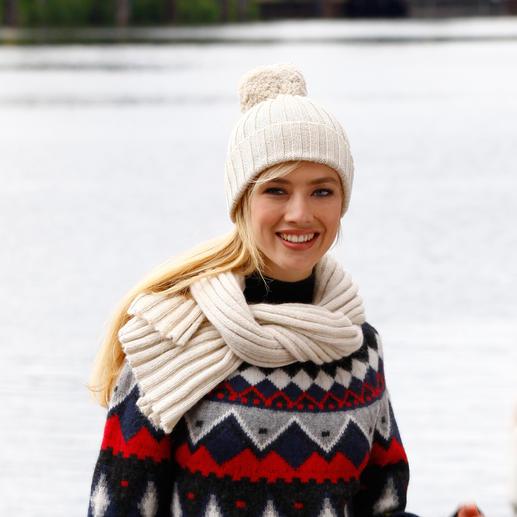 Baby-Alpaka-Norwegerpullover Eine Rarität aus feinstem Baby-Alpaka. Designt in Norwegen. Gestrickt in Südamerika.