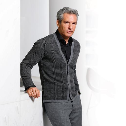 Phil Petter Glencheck-Cardigan - Eleganter als die meisten Strickjacken. Und deshalb sogar Business-tauglich. Von Phil Petter/Österreich.