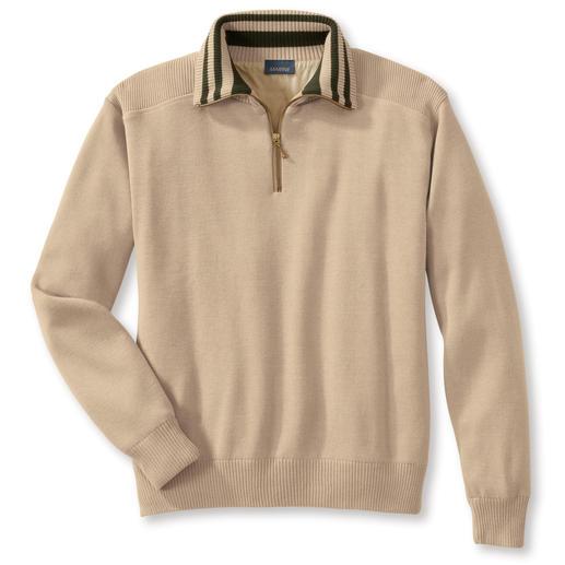Der Wetterschutz-Pullover: warm, Wasser abweisend und winddicht. Sein Geheimnis: Teflon®-Gewebeschutz und Microfaser-Futter.