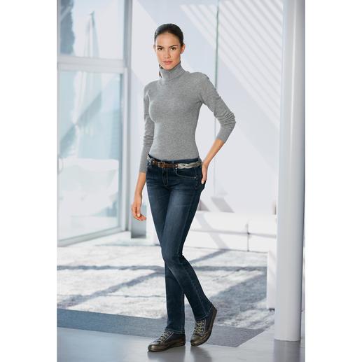 Feinstrick-Body mit Rollkragen - Feinstrick-Body aus Wolle, Seide und Kaschmir. Dieser Pullover rutscht nie aus dem Bund.
