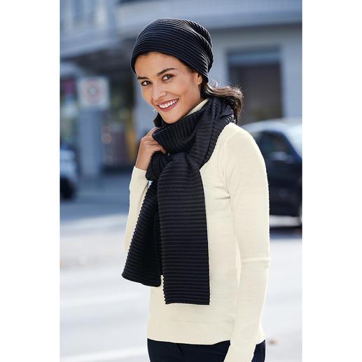 """Plissee-Fleece-Beanie oder -Schal Preisgekröntes Design aus Schweden: """"Pleece"""". Außergewöhnlich elegant, soft und wärmend."""