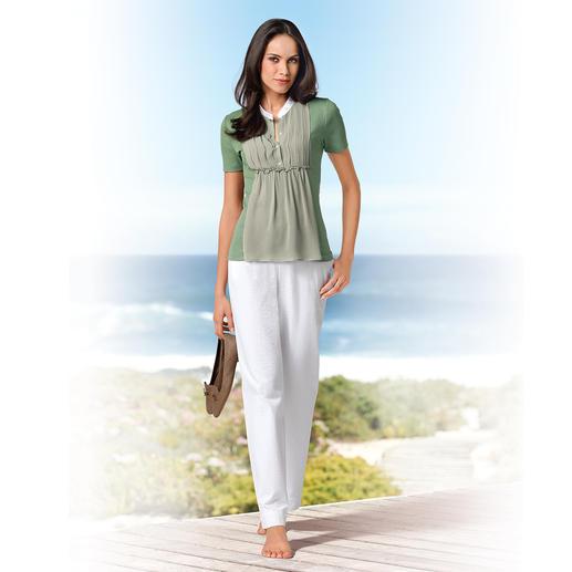 Gran Sasso Blusen-Shirt Baumwoll-Jersey mit Seiden-Chiffon: Bequem wie ein T-Shirt. Elegant wie eine Bluse. Von Gran Sasso, Italien.