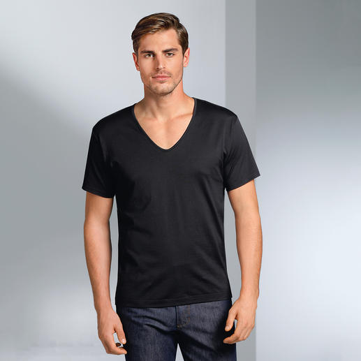 Kurzarm, V-Shirt, Schwarz
