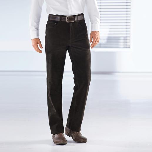 Büffellederhose Kernig, unverwüstlich – und doch butterweich. Die Jeans aus echtem Büffelleder.