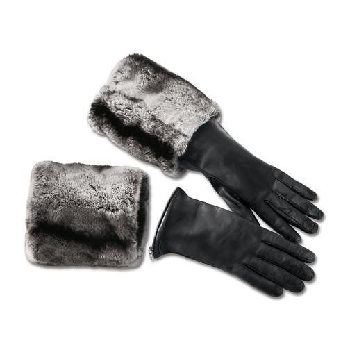 Merola Stulpen-Handschuhe Heute ladylike, morgen rockig und übermorgen luxuriös: Die Lederhandschuhe mit abzippbaren Fellstulpen.