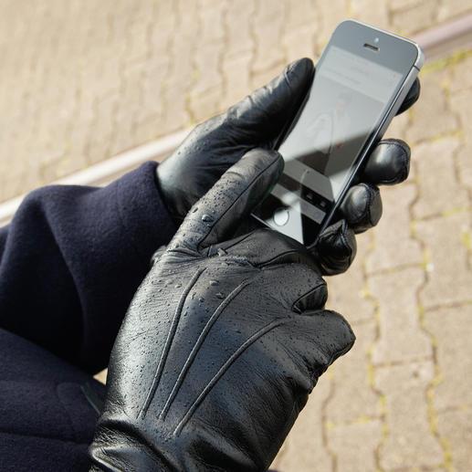 """Merola Lammleder-Handschuh """"Nappa-Touch"""" Smartphone, Tablet, Touchscreens,… endlich auch mit eleganten Lederhandschuhen zu bedienen. Von Merola, Italien."""