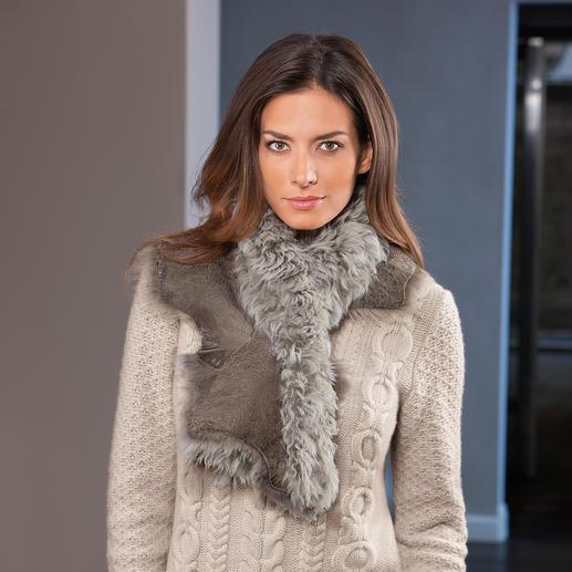 Tigrado-Lammfell-Schal Wärmender Schal. Oder dekorativer Kragen für Ihre Jacken, Mäntel und Pullover.