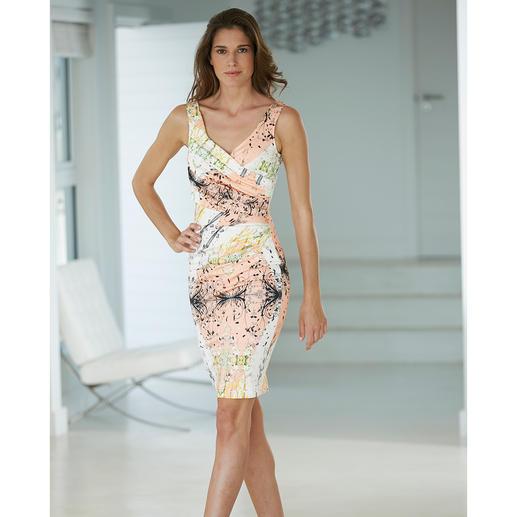 Das feminin figurbetonte Kleid zaubert die begehrte Sanduhr-Silhouette.