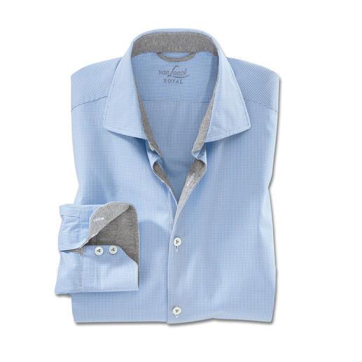 van Laack Minikaro-Hemd - van Laack fertigt das perfekte Karohemd für Business und Freizeit. Dezentes Minikaro. Sportive Jersey-Belege.