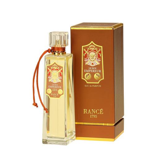 Das Eau de Parfum Le Roi Empereur von Rancé - Napoleons Krönungs-Duft: eine Parfum-Rarität mit Geschichte. Der historischer Duft wird überwiegend aus natürlichen Inhaltsstoffen wie Blüten, Blätter und Gräsern gemacht.