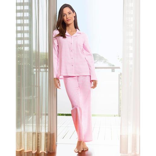 NOVILA Flanell-Pyjama Vichykaro Für den ersten guten Eindruck am Morgen. Aus weichem Baumwoll-Flanell. In femininem rosa/weißem Vichy-Karo.