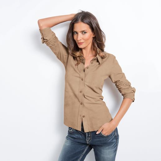 Waschbare Ziegenvelours-Bluse - Vergessen Sie teure Spezialreinigung: Diese Lederbluse darf in die Waschmaschine.