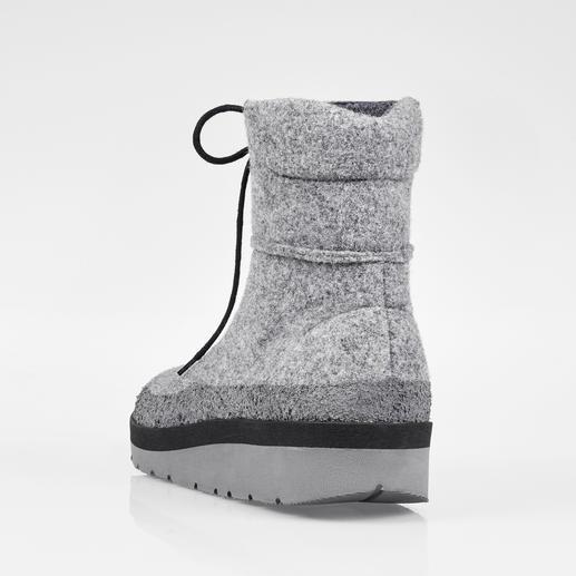Filz-Outdoor-Boots Natürlich wärmender Wollfilz: endlich auch als wetterfester Outdoor-Schuh. Trotzt Schnee, Matsch, Pfützen. Und wiegt nur 390 g.