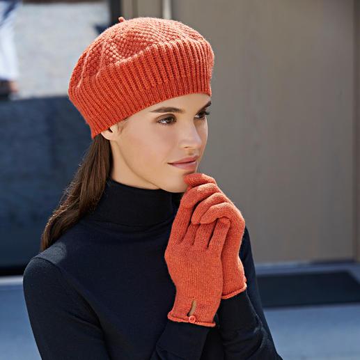Mütze und Handschuhe, Orange
