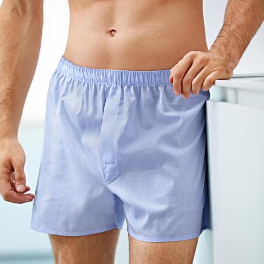 """Sunspel Minikaro-Boxershorts Seit 1947 komfortabel, langlebig und aus feinster Baumwolle gewebt – mit dem typischen """"panel seat""""."""