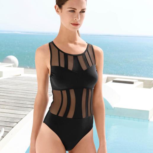 Opera Mesh-Badeanzug Der elegante Mesh-Badeanzug von Opera®. Kaschierend und bedeckend wie ein Badeanzug. Sexy wie ein Bikini.