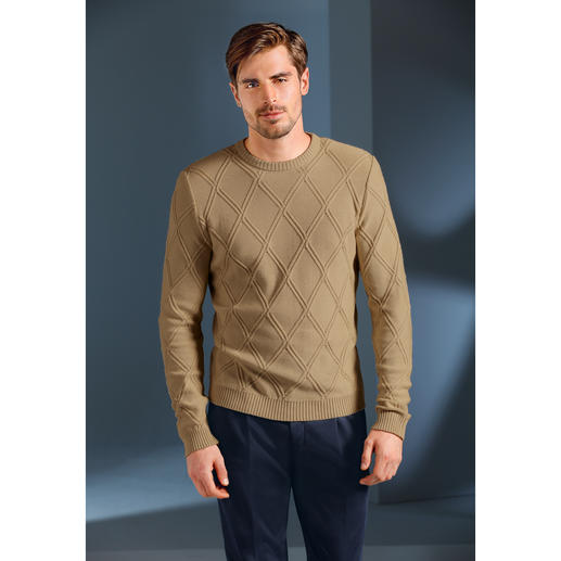 Strukturstrick-Sommerpullover So sommerleicht kann ein kerniger Struktur-Pullover sein. Aus Baumwolle, Modal und Kaschmir made in Germany. Exklusiv bei Fashion Classics.