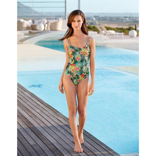 """SunSelect®-Badeanzug """"Hibiskus"""" Aus Sonnen durchlässigem SunSelect® – mit außergewöhnlichem Palmen/Hibiskus-Print."""