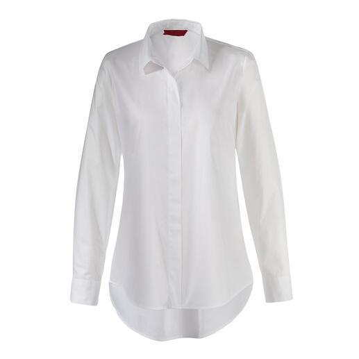 Die weiße Longbluse mit swiss+cotton Zertifikat. Seltener Glücksgriff: Modische Form plus erlesene Qualität.