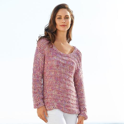 Kero Design Bändchengarn-Pullover Von Hand gefärbt und gestrickt: seltenes Bändchengarn aus Baby-Alpaka- und Merinowolle. Hergestellt in Peru.