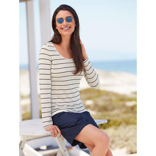 Knitted linen Streifen-Langarm- oder T-Shirt Außergewöhnlich gut: ein Shirt aus gestricktem Leinen. Angenehm kühl und trocken an heißen Tagen.