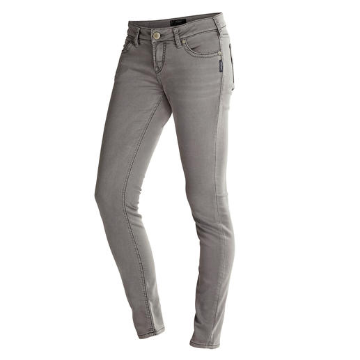 Silver® Jersey-Jeans, Used Grey - Authentische Jeans-Optik. Aber mit Yoga-Pants-Feeling. Selten gut gelungen bei Silver®, Kanada.