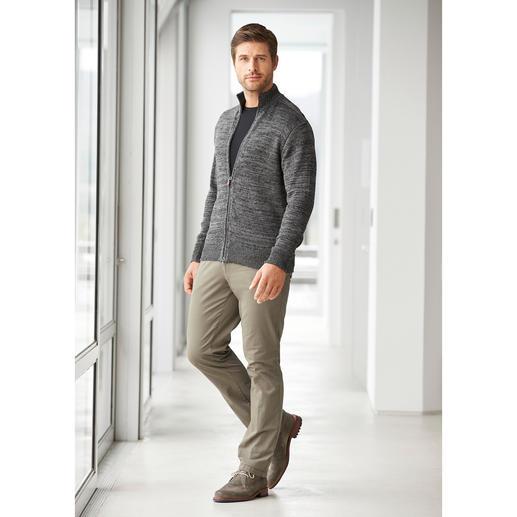 Inis Meáin Leinen-Zipp-Jacke Strickkunst made in Ireland: die luftige Leinen-Zipp-Jacke in angesagter Grau-Melange.