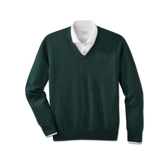 V-Pullover, Grün-Meliert