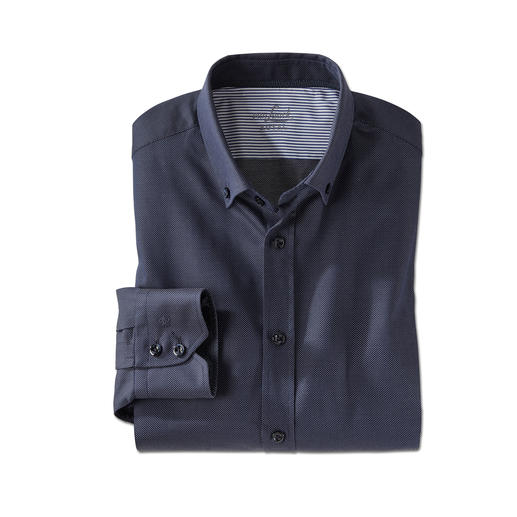 van Laack Kaviartupfen-Hemd - Das sportliche Button-down-Hemd von van Laack: Klassisches Dunkelblau. Fein gewebte (statt gedruckte) Kaviartupfen.