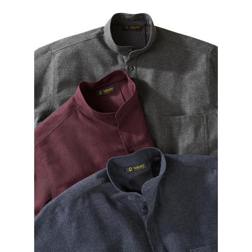 Nehru-Baumwoll-Flanellhemd Typisch: Der Stehkragen. Neu: der leichte Flanell. Nicht zu warm. Nicht zu kalt. 8 Monate im Jahr richtig.