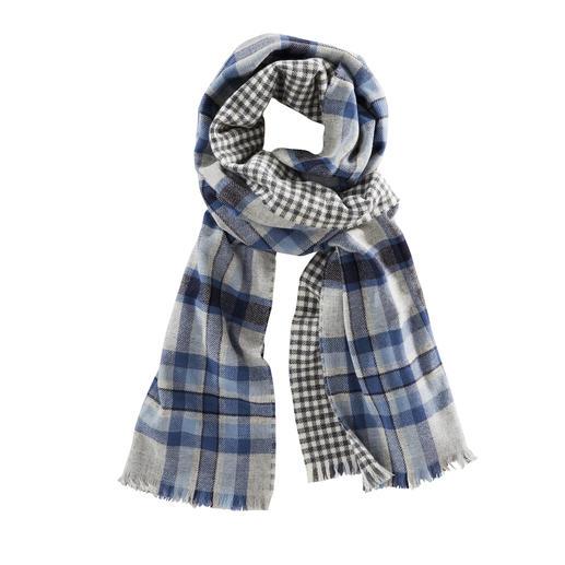 Johnstons Doubleface-Karo-Schal, blau/grau Ein edler Doubleface-Schal. Zwei klassische Muster. Von Johnstons of Elgin/Schottland, Tradition seit 1797.