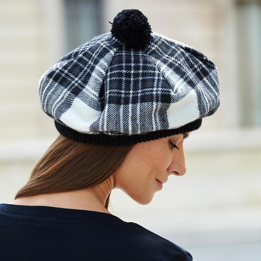Lochcarron Schottenmütze Traditionsreiches Stewart Dress Tartan. Reine Lammwolle. Made in Scotland.