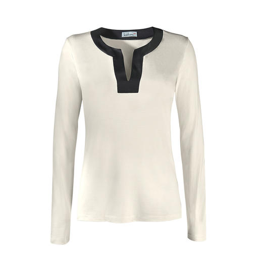 Überlebt Generationen billiger Shirts. Seltener Luxus aus 95 % Seide: Das Edel-Basic mit schimmerndem Lüster. Überlebt Generationen billiger Shirts.