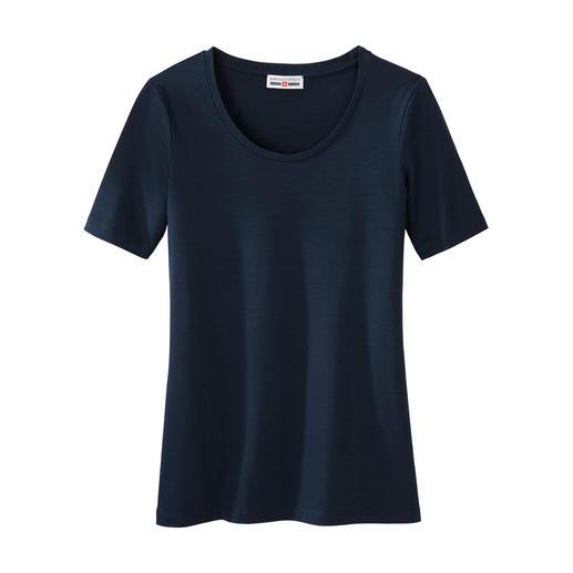 Kurzarm- oder Langarm-Basic-Shirt swiss+cotton Warum ein Basic-Shirt für 45,95 Euro ein Schnäppchen sein kann. swiss+cotton ist form- und farbtreu, geschmeidig glatt und dehnbequem.